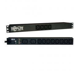Tripp Lite 1.6/3.8kW Single-Phase 100–240V Basic PDU, 14 Outlets (12 C13 & 2 C19), C20 w/5 Adapters, 3.05 m (10-ft.) Cord, 1U Rack-Mount