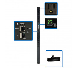 Tripp Lite 1.4kW Single-Phase Switched PDU with LX Platform Interface, 120V Outlets (16 5-15R), 10 ft. Cord w/5-15P, 0U, TAA