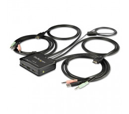 StarTech.com 2-Port HDMI KVM Switch with Built-In Cables - USB 4K 60Hz