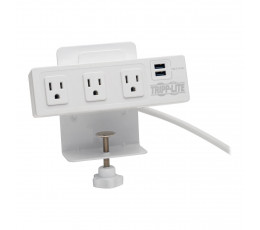Tripp Lite 3-Outlet Surge Protector with 2 USB Ports, 10 ft. Cord – 510 Joules, Desk Clamp, White Housing