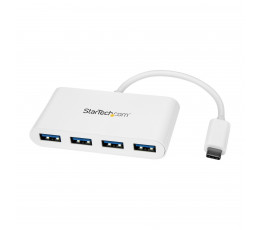 StarTech.com 4 Port USB C Hub with 4x USB-A Ports (USB 3.0 SuperSpeed 5Gbps) - USB Bus Powered - Portable/Laptop USB-C to USB-A Adapter Hub - USB 3.1 Gen 1/USB 3.2 Gen 1 Type-C Hub - White