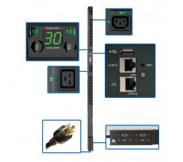 Tripp Lite 5/5.8kW Single-Phase Switched PDU, Outlet Monitoring, 208/240V Outlets (20 C13 & 4 C19), 0U, LX Platform Interface, TAA