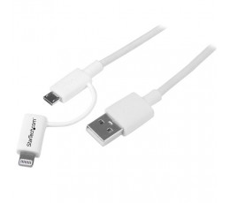 StarTech.com 1 m (3 ft.) 2 in 1 Charging Cable - USB to Lightning or Micro-USB for iPhone / iPad / iPod / Android - Apple MFi Certified - Multi Phone Charger - USB 2.0